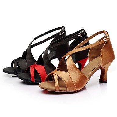 Silence @ pour femme fille Chaussures de danse latine/Salsa/Samba/piste de danse en satin/similicuir Talon Plus de couleur marron