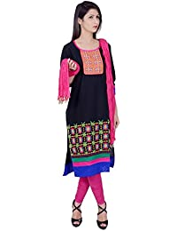 Rama Suit Set Of Black Colour Embroidered Kurta With Pink Legging And Dupatta