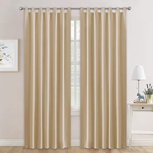 Pony dance tende sole moderne beige - drappeggi termiche isolanti da interno casa finestre soggiorno/tessuti insonorizzanti, 2 pezzi, 140 x 245 cm (l x a)