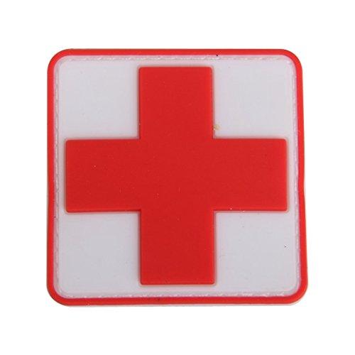 Abzeichen - TOOGOO(R)Outdoor Erste Hilfe PVC rotes Kreuz Haken Klettverschluss Abzeichen Patch