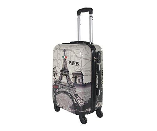 Equipaje de mano 55 cm JUSTGLAM Maleta cabina 4 ruedas trolley cascara dura adecuadas para vuelos de bajo cost art eiffel tower