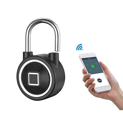 WSXX Elektronisches Vorhängeschloß, Smart Bluetooth-Fingerabdruck-Vorhängeschloss, Tür-Warehouse Door Management Remote Unlock Password Lock Remote Door Unlock