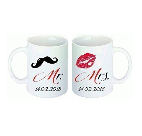 *Tassen mit Datum, 2er Tassen-Set – Aufdruck Mr. & Mrs. und personalisiert mit Datum*