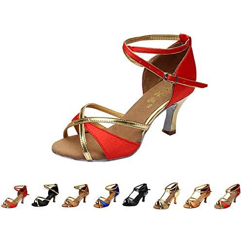 DAY.LIN Escarpins Femmes Ballerines Moderne Talons Bas Rumba Waltz Prom Ballroom Fête Latin Tango Danse du Salsa Talons Mi-Hauts Sandales Chaussures de Danse 35-41 (35, 0522-Rouge)