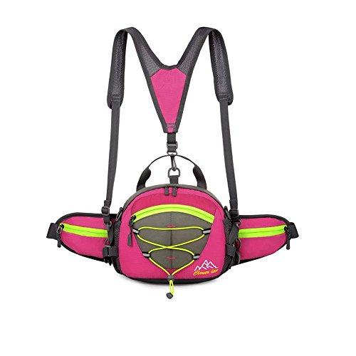 metyou Multifunktions Wasserdicht Taille Pack mit Wasser Flaschenhalter Sport Rucksack Running Gürtel für Camping Radfahren Jagd und Reise-Pack rose