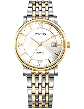 Comtex Herren-Armbanduhr Gold Fall mit Edelstahl Armband