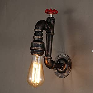 Sanyi Vintage Water Pipe Wall Light Fixture Industrial Brass Light Wall Sconce Edison Lamp Retro Metal Wall Light Retro Lights Fixture Retro Wall Lamp
