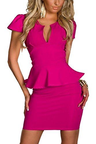 Sexy Sexi Été Bodycan Low Cut V-neck flounce Slim Club Robe Clubwear Partywear Casual Robe courte pour femmes dames dame Rose rouge M Taille