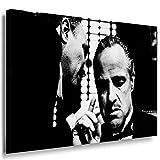 Godfather Leinwandbild LaraArt Bilder Schwarz Weiß Kunstdruck Wandbild 100 x 70 cm