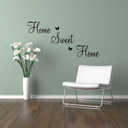 "Wand Aufkleber ""HOME SWEET HOME"" + Schmetterlinge Spruch Wand Kunst - grau, Large"