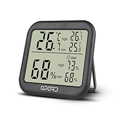 grometer innen,Raumthermometer,digitales Thermometer,Hydrometer Feuchtigkeit,Temperatur und Feuchtigkeitsmessgerät mit Max/Min Rekorde (Schwarz) ()