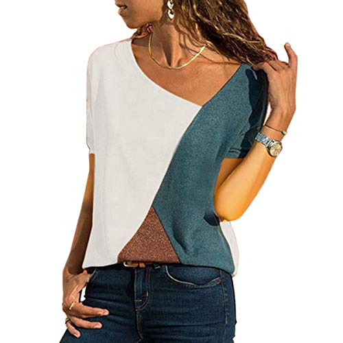 WinCret Damen Kurzarm Patchwork Farbblock T-Shirt Lässige Asymmetrische Sexy V-Ausschnitt Oberteile