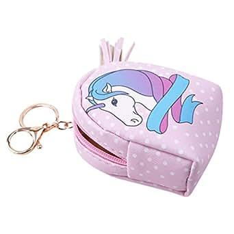 VWH Women PU Unicorn Mini Wallet Card Key Holder Zip Coin Purse Clutch Bags (pink dots)