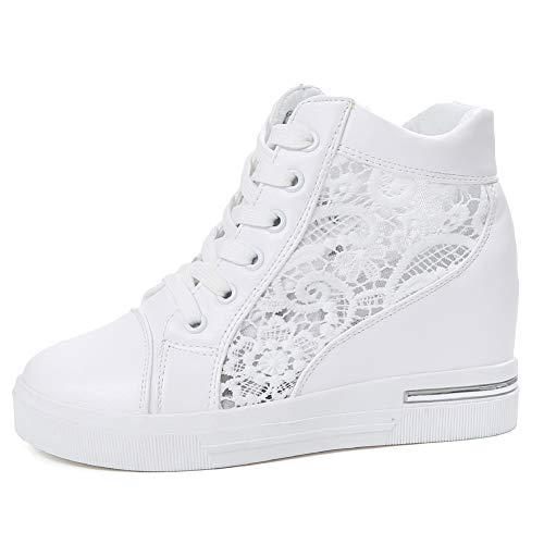 AONEGOLD Damen Sneaker Wedges mit Keilabsatz Plateau Atmungsaktiv Mesh Turnschuhe Sommer Freizeitschuhe(Weiß,38 EU) Weiße Wedge Sneakers