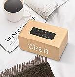 SKINGO Altoparlante, Altoparlante Bluetooth, Versione Orologio, Altoparlante Bluetooth Wireless in Legno, Sveglia Multifunzione per Computer