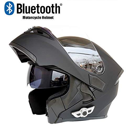 TLPSB Motorrad Modularer Flip-Up-Helm, Motorrad-Bluetooth-Helme DOT-Zertifizierung Anti-Fog-Doppelspiegel mit automatischer FM-Anrufbeantworter-Stereo-Mattschwarz,MatteBlack,M(57~58cm)