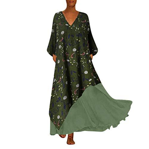 Zottom,Abendkleider kurz mit Spitze,Plus Size Damen Vintage V-Ausschnitt Spleißen Floral Bedruckte ärmellose Maxi-Kleid