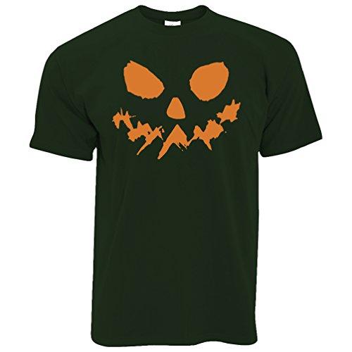 (Tim And Ted Halloween T-Shirt Scary Halloween-Kürbis-Gesicht Bottle Green XX-Large)