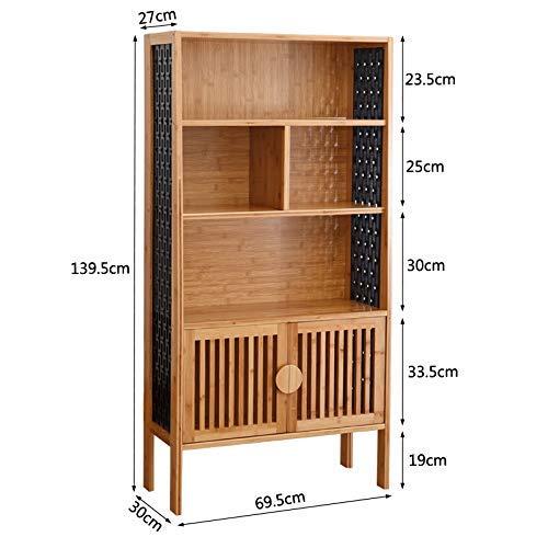 Bzwj Regale Regale Bücherregal mit 2 Türen Media Storage Book Organizer Regalschrank für Wohn- und Büroregale,4 Tier - Media Schränke Mit Türen
