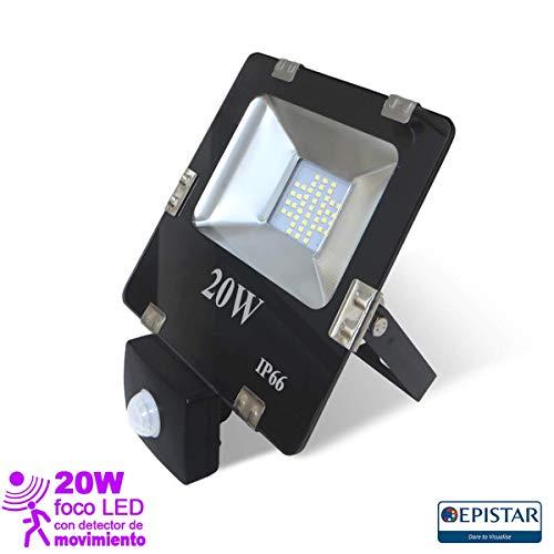 EEKLUX Foco Proyector LED 20W con Sensor de Movimiento, 20 W, Negro, Pequeño