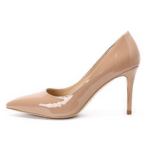 Damen Pump Schuhe Mit Absatz Womens High Heels Shoes Spitze Schwarz Leder For Hochzeit Party Abend(37,Nude Lackleder)