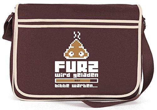 Shirtstreet24, Furz wird geladen..., Retro Messenger Bag Kuriertasche Umhängetasche Braun
