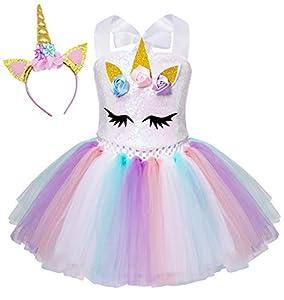 AmzBarley Unicornio Vestidos Princesa Niña