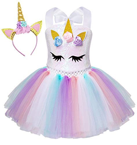 AmzBarley Einhorn Kostüm Tutu Kleid Kinder Einhörner Mädchen Prinzessin Kleider Geburtstag Party Ankleiden Karneval Halloween Cosplay Abendkleid Kleidung mit Stirnband, Weiß Pailletten, 5-6 (Weißes Einhorn Kostüm)