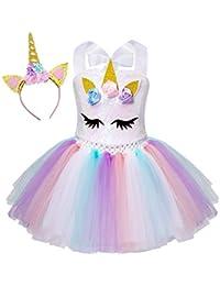 AmzBarley Unicornio Vestidos Princesa Niña Fiesta de Tul Tutu con Encaje de Flor sin Mangas,Disfraz Halloween Princesa con Argolla de Pelo Boda