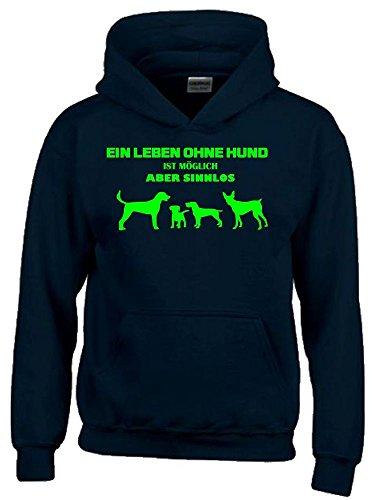 Ein Leben ohne HUND ist möglich - aber sinnlos ! ! Jungen und Mädchen Hunde Sweatshirt mit Kapuze HOODIE schwarz-green, Gr.140cm