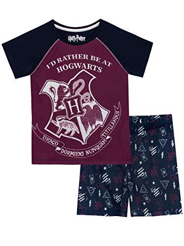 Harry Potter Mädchen Hogwarts Schlafanzug Blau 122 - Kurze Pyjamas Pjs
