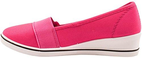 Elara Keilpumps Wedges   Bequeme Sportliche Damen Pumps mit Keilabsatz Pink Fashion