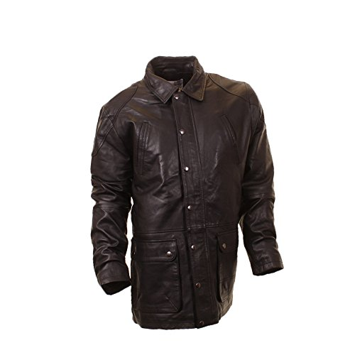 Mens Haines & Bonner Leather Car Coat Stylish Millitary Style Leather Jacket