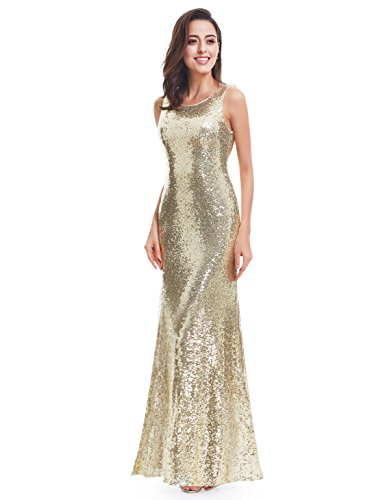 Ever Pretty Lang Pailletten Elegant Partykleid Cocktailkleid Abendkleid 38 Gold - 4