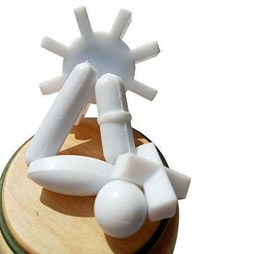 Zerone Laboratorio Magnetico in PTFE Stir Bar Stirrer Flea Lab per Mixer Bianco 5 Pezzi