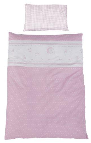 roba Bettwäsche 2-tlg, Kollektion 'Glücksengel rosa', Kinderbettwäsche 100x135 cm, 100% Baumwolle, Decken-& Kissenbezug für Babys & Kinder