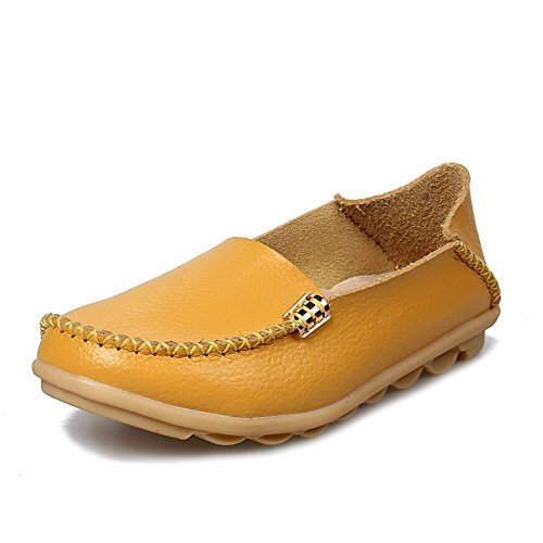 CCZZ Damen Mokassins Leder Casual Halbschuhe Slipper Freizeit Flache Sommer Schuhe