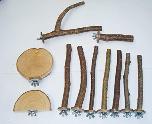 BuyAndBeHappy70 Sitzstangen Sitzbretter für Vögel Wellensittiche Kanarien usw. Set 11-teilig Naturholz