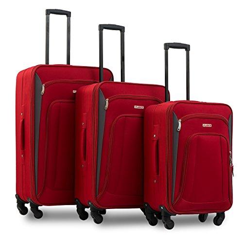 Stoffkoffer Kofferset Reisekoffer Set3tlg.Trolleys mit Zahlenschloss, Flieks EVA Gepäckmit 4 Rollen,Set-XL-L-M (Rot und Braun)