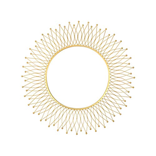 Weq Amerikanischer dekorativer Spiegel-runder Eingangsspiegel-Wohnzimmer-Hintergrund-Wand-hängender Spiegel-Sonnenbrille-Kamin-Kabinett-Spiegel (Color : Gold, Size : 82 * 82CM)