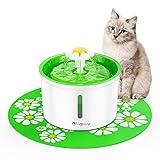 isYoung Fontanella Floreale per Gatti, distributore Automatico d'Acqua da 1.6L per Animali Domestici 3 modalità di Flusso dell'Acqua con Sistema di filtraggio (Fontanella Gatti isYoung)