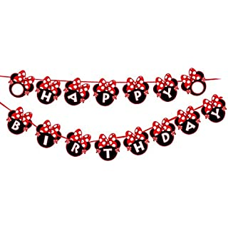 Alemon Red Minnie Happy Birthday Banner, Mini Mouse Style Party Decorations