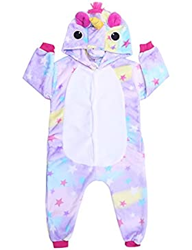 iEFiEL Pijama Divertido para Niño Niña Unisex Disfraces de Unicornio Animal Mono Pijama con Capacha Invierno Otoño...