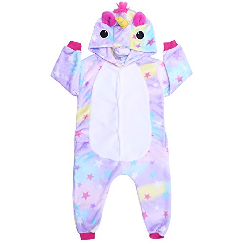 IEFIEL Pijama Divertido para Niño Niña Unisex Disfraces de Unicornio Animal Mono Pijama con Capacha Invierno Otoño Confortable Calentito Morado 7-8 Años