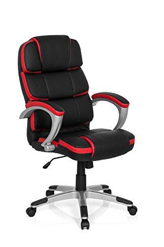 Chefsessel Bürostuhl GAMING PRO BY 100 Kunst-Leder Schwarz Rot Büro-Sessel Drehstuhl Schreibtisch-Stuhl Sport-Sitz Racing Armlehne MyBuero 722130