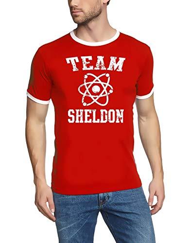 TEAM SHELDON - big bang theory ! T-Shirt Vintage rot_RINGER Gr.M -