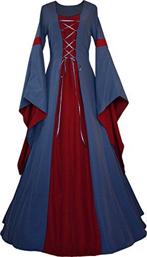 Dornbluth Damen Mittelalter Kleid Johanna Indigo (40/42, Indigo-Bordeaux)