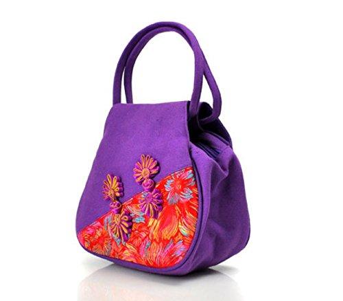 National Style Handbags–Memorecool Old sentimenti cinese nodo fibbia magnetica Phone borse ragazze borsa in poliestere Black Purple