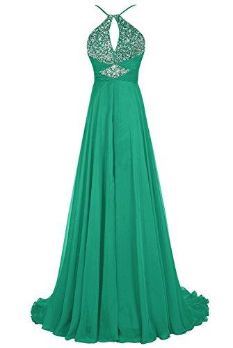 Bbonlinedress Robe de cérémonie Robe de soirée emperlée forme empire avec traîne Vert