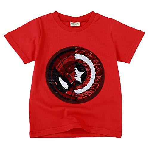 Jungen Mädchen Kinder Kinder Reverse Pailletten T-Shirt Pailletten Kurzarmshirts (6-7 Jahre alt, ()
